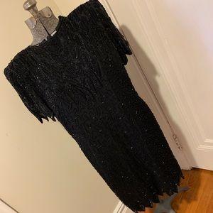 Laurence Kazar beaded evening dress in black M